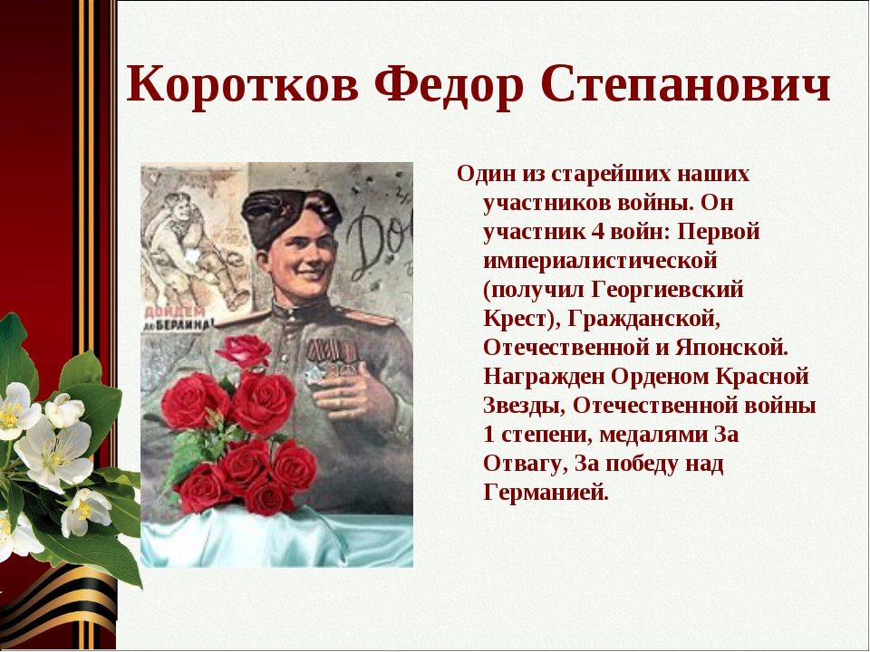 Коротков Федор Степанович Один из старейших наших участников войны. Он участн...