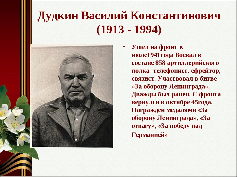 Дудкин Василий Константинович (1913 - 1994) Ушёл на фронт в июле1941года Воев...