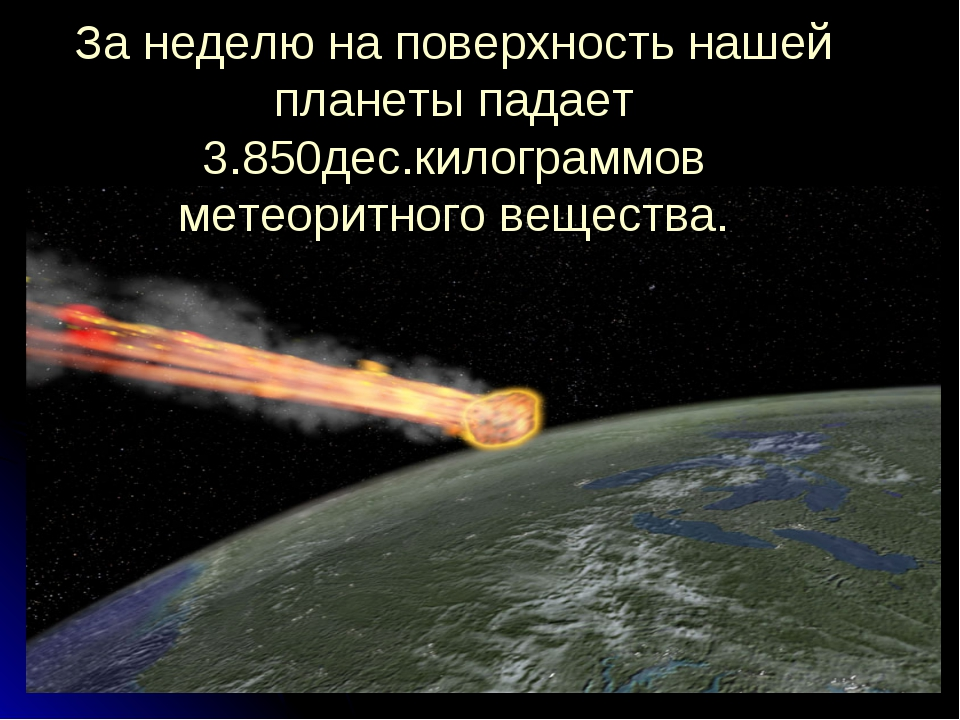 За неделю на поверхность нашей планеты падает 3.850дес.килограммов метеоритно...