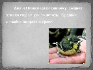 Аня и Нина нашли синичку. Бедная птичка ещё не умела летать. Крошка жалобно