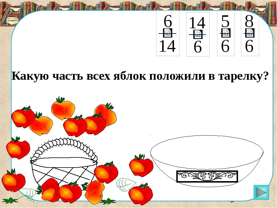Какую часть всех яблок положили в тарелку? Пригласите к компьютеру ученика