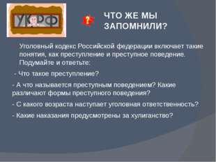ЧТО ЖЕ МЫ ЗАПОМНИЛИ? Уголовный кодекс Российской федерации включает такие пон