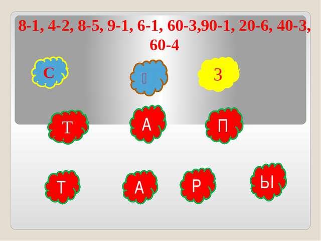8-1, 4-2, 8-5, 9-1, 6-1, 60-3,90-1, 20-6, 40-3, 60-4 С Ө З Т А А Р П Ы Т