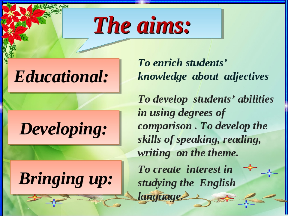 The aims: Educational: Developing: Bringing up: To enrich students' knowledge...