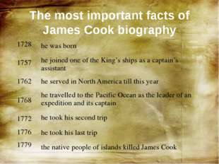 The most important facts of James Cook biography 1728 1757 1762 1768 1772 177