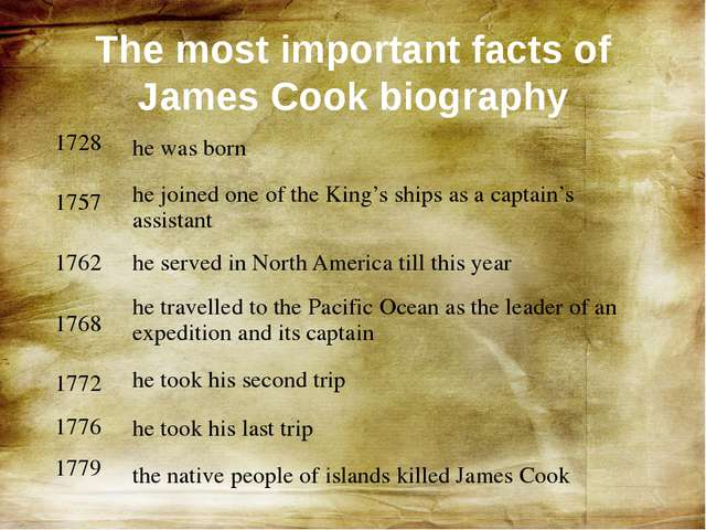 The most important facts of James Cook biography 1728 1757 1762 1768 1772 177...