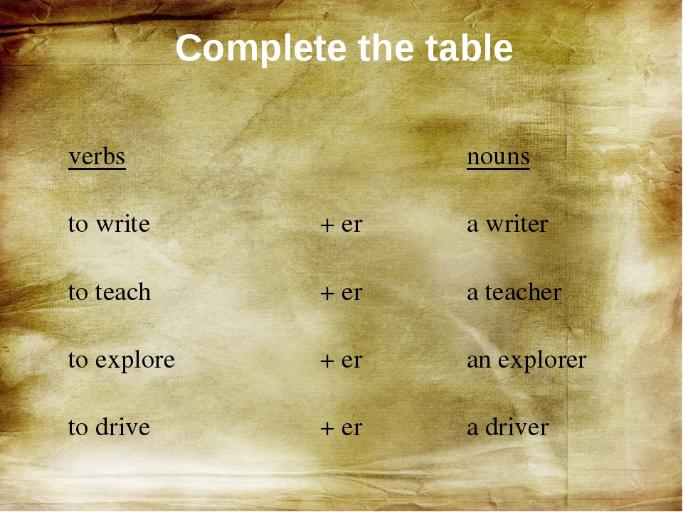 Complete the table verbs to write +er to teach + er to explore + er to drive...