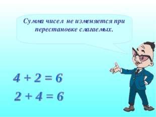 Сумма чисел не изменяется при перестановке слагаемых.