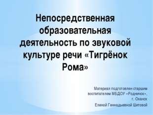 Материал подготовлен старшим воспитателем МБДОУ «Родничок», г. Оханск Еленой
