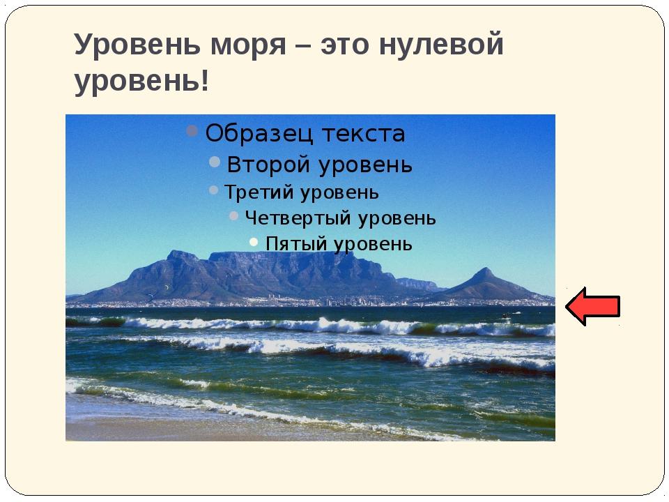 Уровень моря – это нулевой уровень!