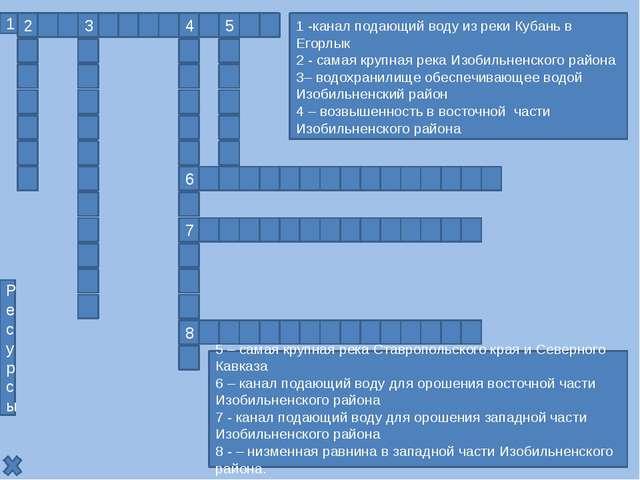 Н к е в и н н о м ы с с и й 1 – канал подающий воду из реки Кубань в реку Его...