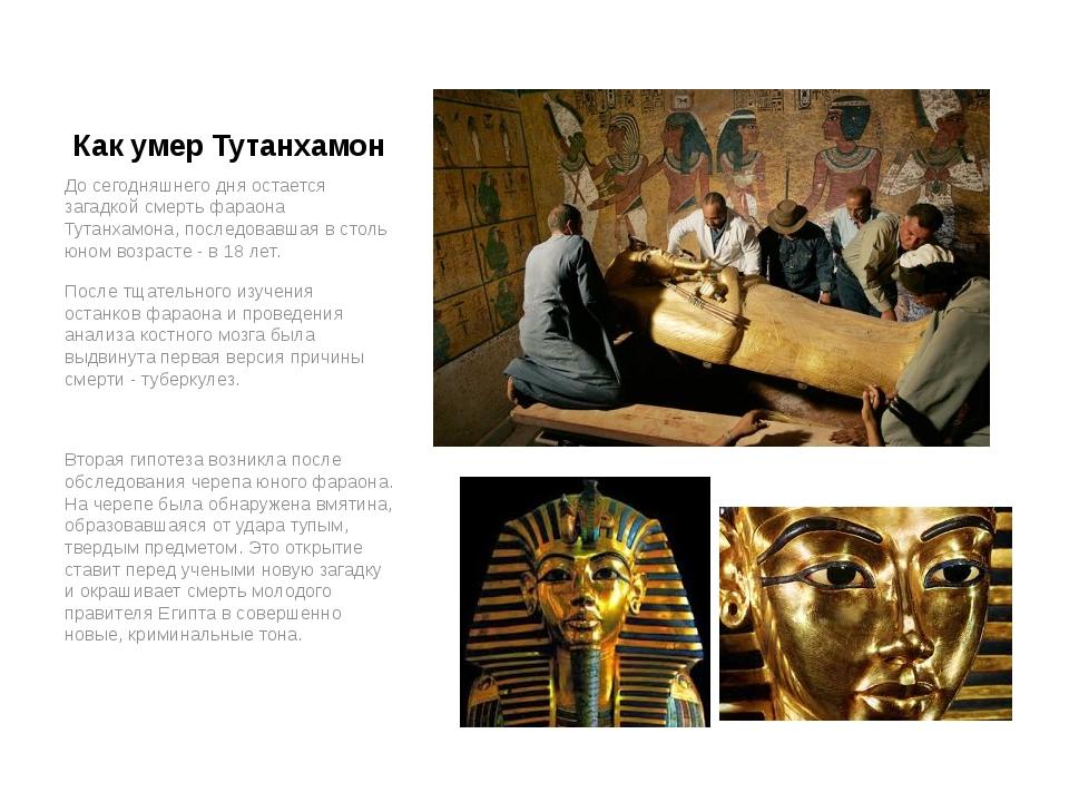 Как умер Тутанхамон До сегодняшнего дня остается загадкой смерть фараона Тута...