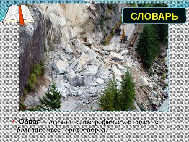 Обвал – отрыв и катастрофическое падение больших масс горных пород. СЛОВАРЬ