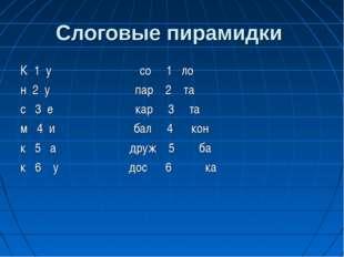 Слоговые пирамидки К 1 у со 1 ло н 2 у пар 2 та с 3 е кар 3 та м 4 и бал 4 ко
