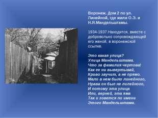 Воронеж. Дом 2 по ул. Линейной, где жили О.Э. и Н.Я.Мандельштамы. 1934-1937.Н