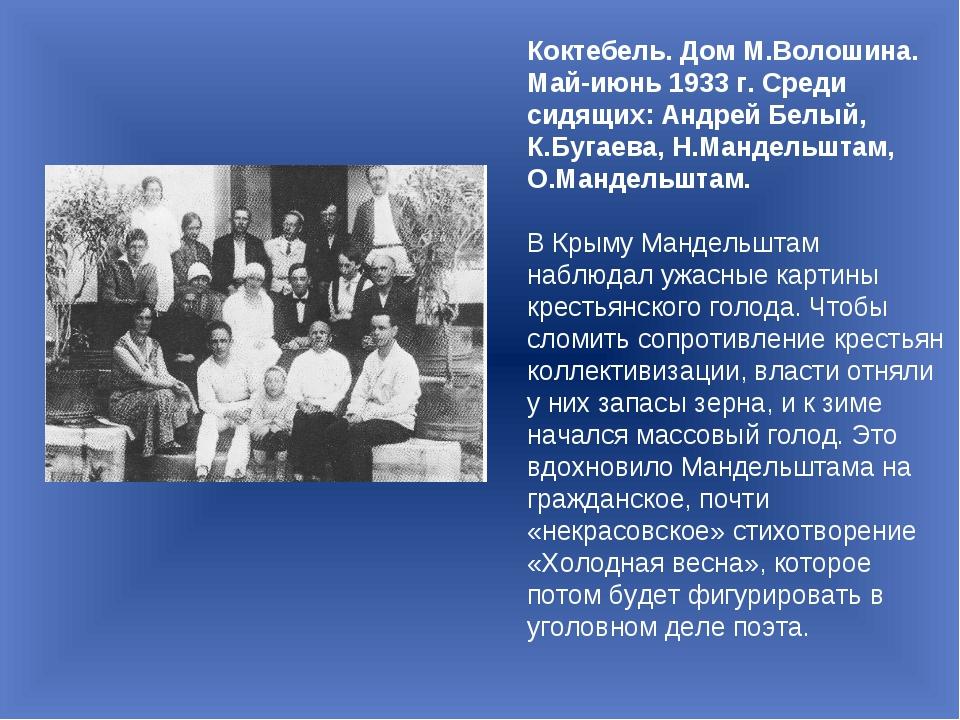 Коктебель. Дом М.Волошина. Май-июнь 1933 г. Среди сидящих: Андрей Белый, К.Бу...