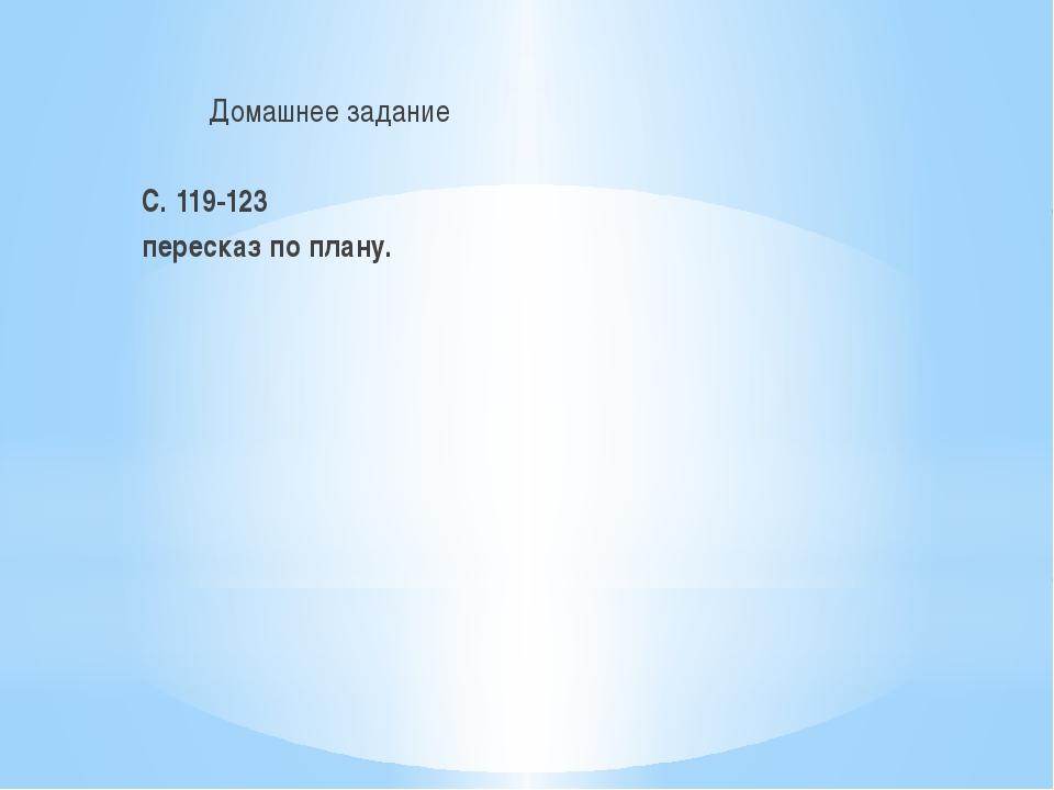 Домашнее задание С. 119-123 пересказ по плану.