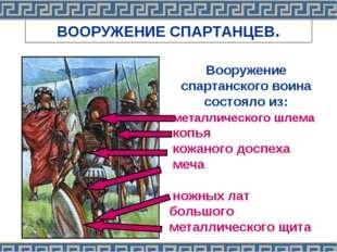ВООРУЖЕНИЕ СПАРТАНЦЕВ. Вооружение спартанского воина состояло из: металлическ