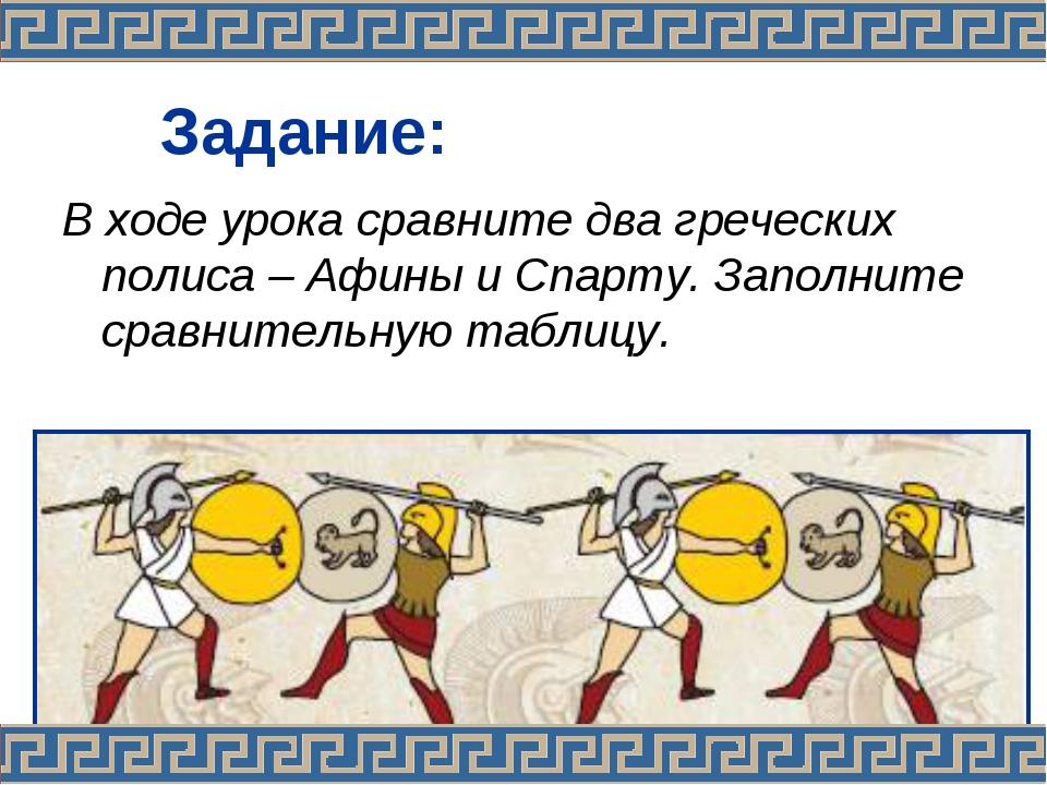Задание: В ходе урока сравните два греческих полиса – Афины и Спарту. Заполн...