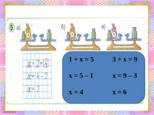 1 + х = 5 х = 5 – 1 х = 4 3 + х = 9 х = 9 – 3 х = 6 scul32.ucoz.ru