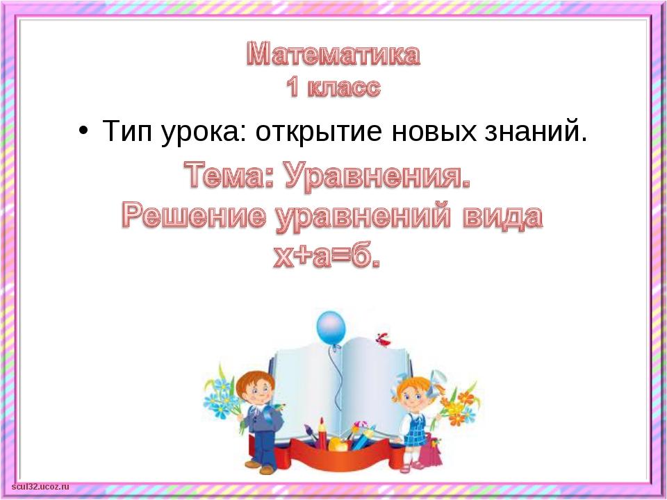 Тип урока: открытие новых знаний. scul32.ucoz.ru