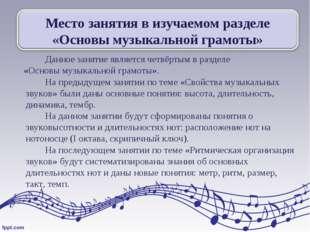 Данное занятие является четвёртым в разделе «Основы музыкальной грамоты».