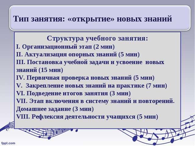 Структура учебного занятия: I. Организационный этап (2 мин) II. Актуализация...