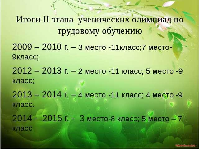 Итоги II этапа ученических олимпиад по трудовому обучению 2009 – 2010 г. – 3...