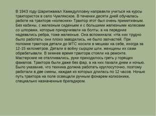 В 1943 году Шарипжамал Хамидулловну направили учиться на курсы трактористок в