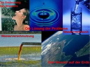 Die Bedeutung des Wassers Das Wasser auf der Erde Wasserverbrauch Wasserversc