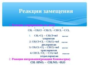 1. Реакция хлорирования на свету 1 2 3 4 СН4 →СН3 Сl →СН2 Сl 2 →СН Сl 3 →С Сl