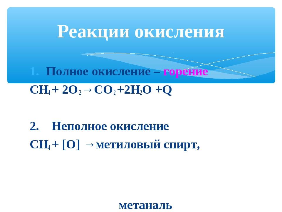 Полное окисление – горение СН4 + 2О 2→СО 2 +2Н2О +Q 2. Неполное окисление СН4...