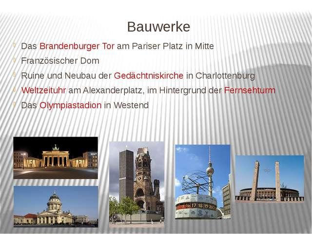 Bauwerke Das Brandenburger Tor am Pariser Platz in Mitte Französischer Dom Ru...