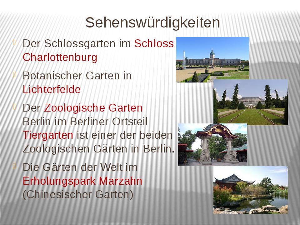 Sehenswürdigkeiten Der Schlossgarten im Schloss Charlottenburg Botanischer Ga...