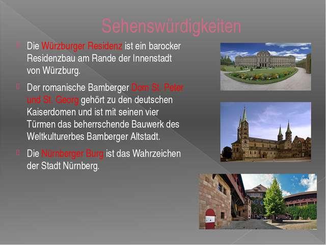Sehenswürdigkeiten Die Würzburger Residenz ist ein barocker Residenzbau am Ra...