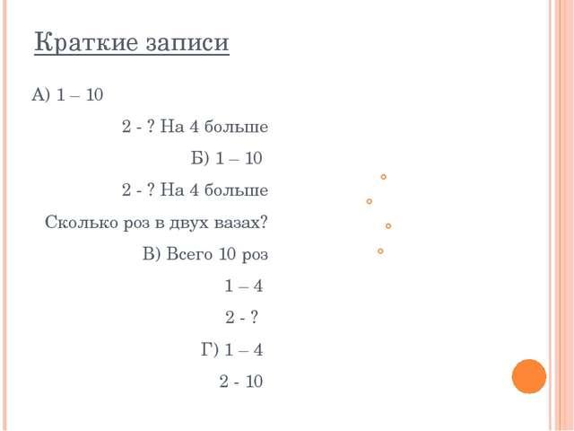 Краткие записи А) 1 – 10 2 - ? На 4 больше Б) 1 – 10 2 - ? На 4 больше Скольк...