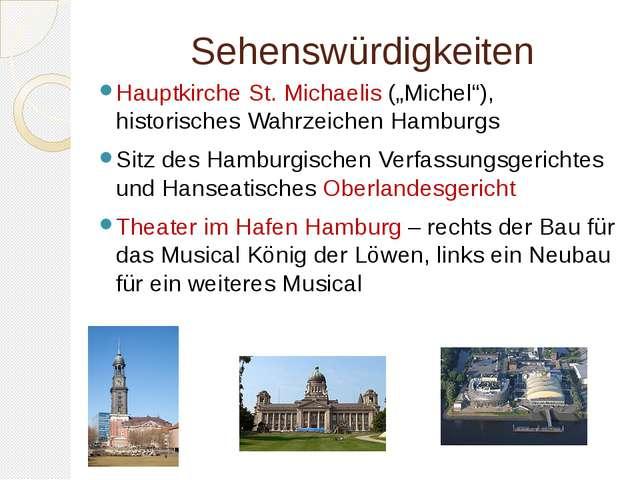 """Sehenswürdigkeiten Hauptkirche St. Michaelis (""""Michel""""), historisches Wahrzei..."""