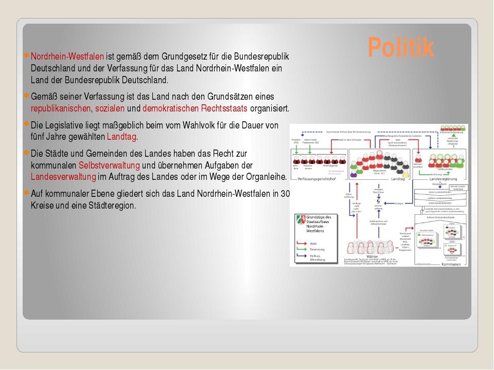 Politik Nordrhein-Westfalen ist gemäß dem Grundgesetz für die Bundesrepubli...