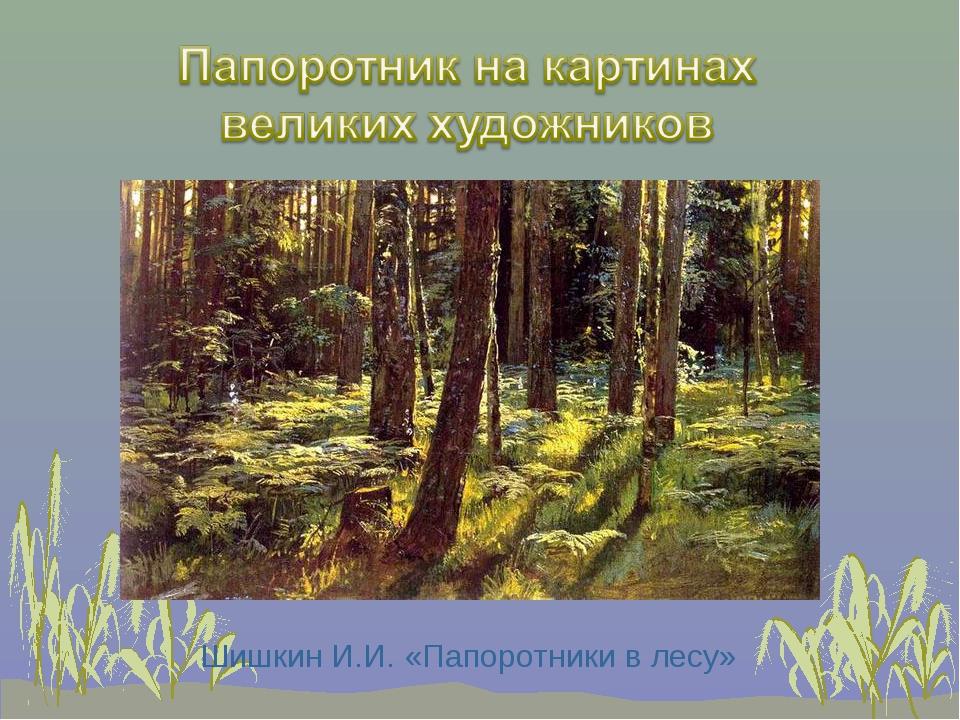 Шишкин И.И. «Папоротники в лесу»