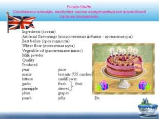 Foods Stuffs. Составили словарь наиболее часто встречающихся английский слов