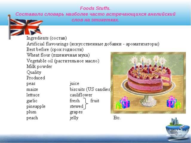 Foods Stuffs. Составили словарь наиболее часто встречающихся английский слов...