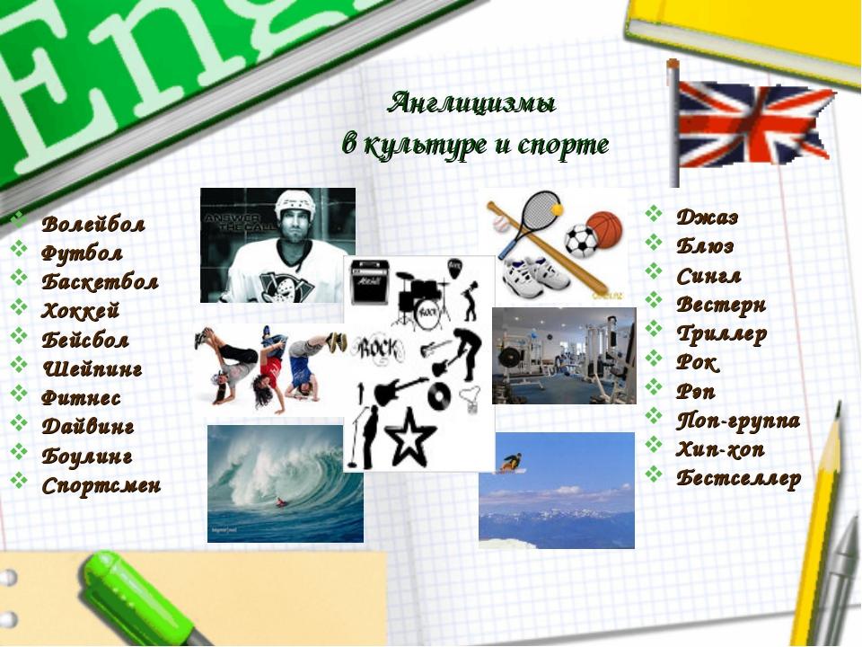 Англицизмы в культуре и спорте Волейбол Футбол Баскетбол Хоккей Бейсбол Шейпи...