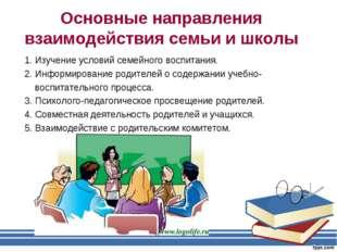 Основные направления взаимодействия семьи и школы 1. Изучение условий семейно