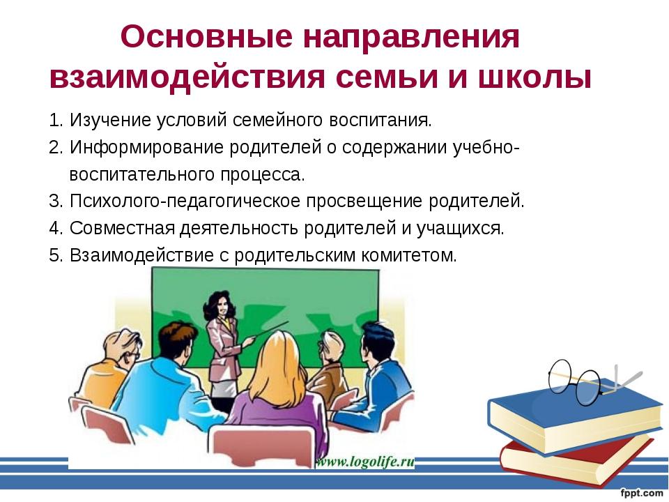 Основные направления взаимодействия семьи и школы 1. Изучение условий семейно...