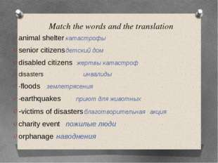 Match the words and the translation animal shelter			катастрофы senior citize