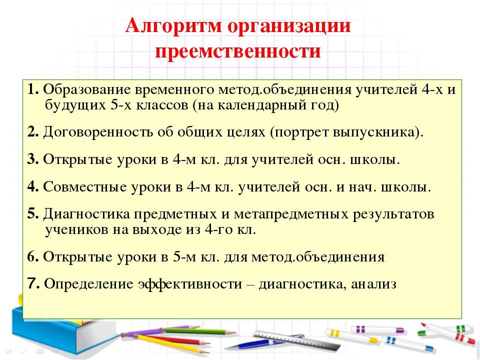 Алгоритм организации преемственности 1. Образование временного метод.объедине...