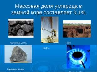 Массовая доля углерода в земной коре составляет 0,1% Каменный уголь Нефть Тор