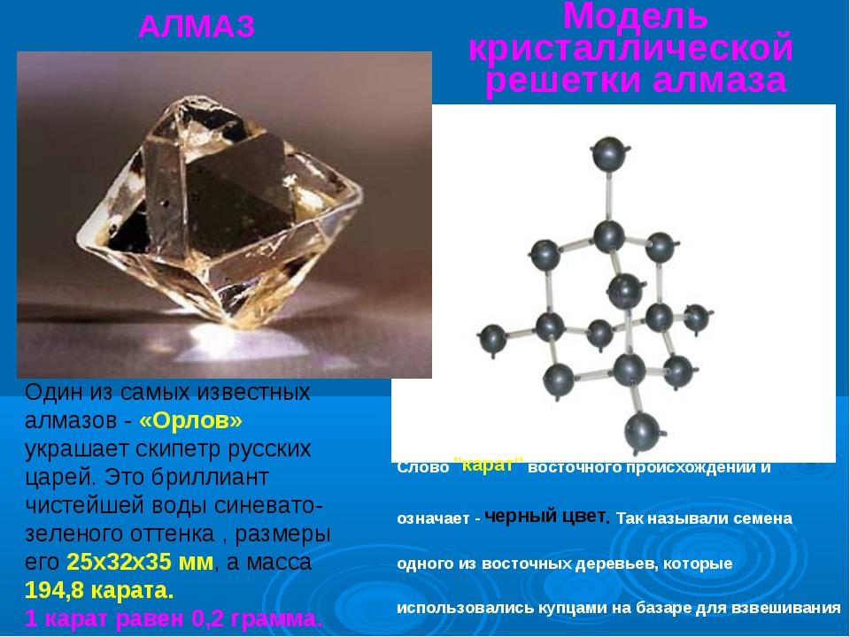 Модель кристаллической решетки алмаза АЛМАЗ Один из самых известных алмазов -...