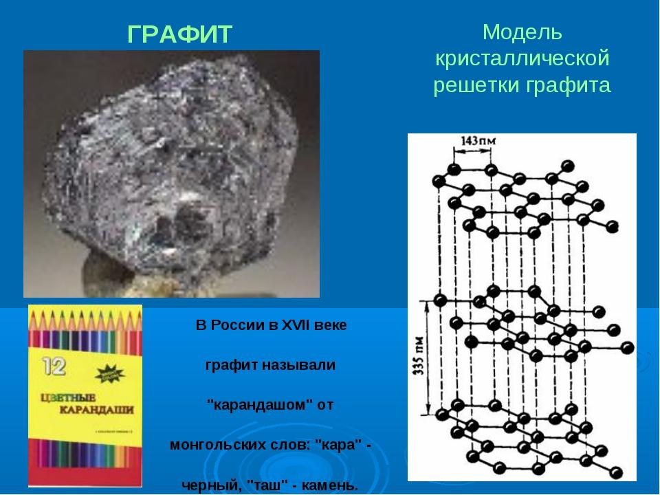 ГРАФИТ Модель кристаллической решетки графита В России в XVII веке графит наз...