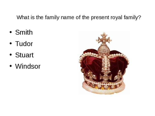 What is the family name of the present royal family? Smith Tudor Stuart Windsor